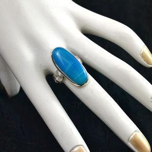 Teal Blue Botswana Agate Oval RING Silver Swirl